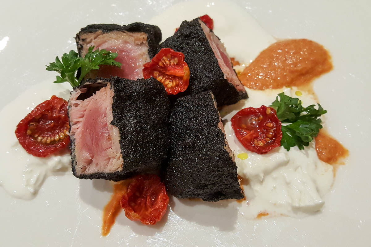A breadcrumbed tuna fillet - Pesce Crudo - Restaurante Mezzaluna - Hotel Viest, Vicenza, Italy - www.italybyus.com