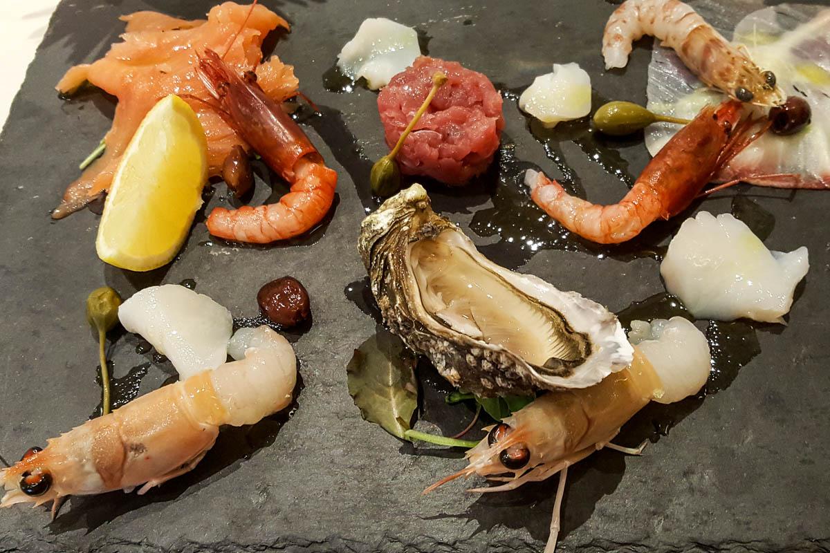 A raw seafood starter - Pesce Crudo - Restaurante Mezzaluna - Hotel Viest, Vicenza, Italy - www.italybyus.com