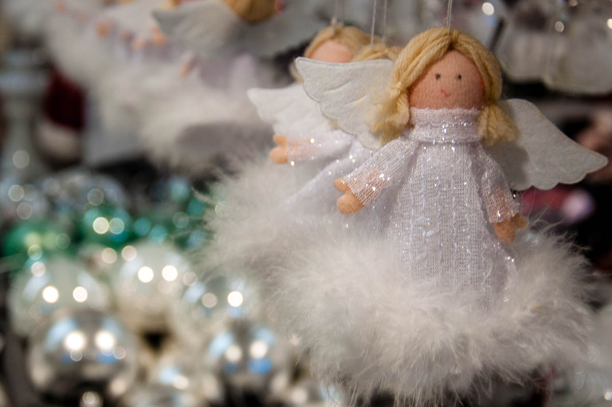 Christmas angels and baubles