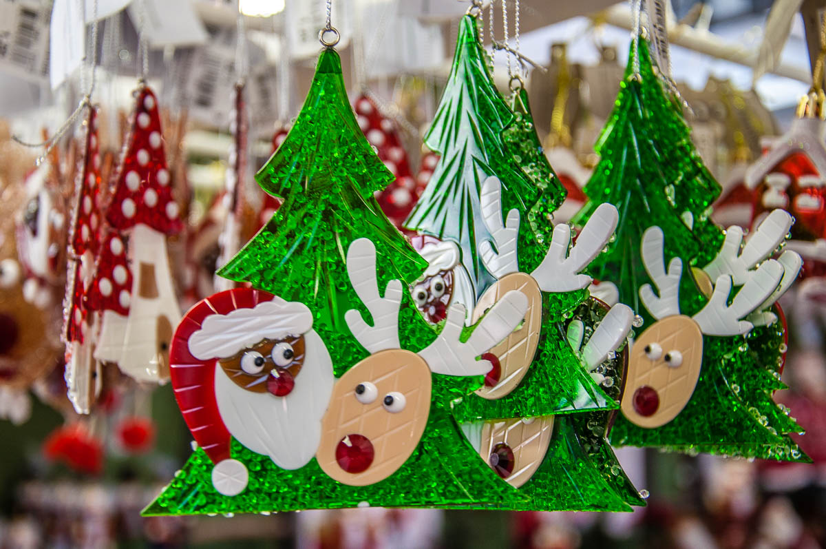 Christmas reindeers and Santa Claus on a Christmas tree