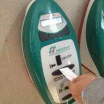 Italy Train Ticket green validation machine